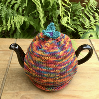 Hand Knitted One Cup Tea Cosy, Small Tea Cozy with Teal Flower