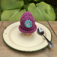 SALE - Crochet Flower Egg Cosy, Pink and Turquoise Egg Cosy