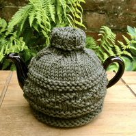 Small Olive Green Tea Cosy, One Cup Leaf Design Tea Cozy