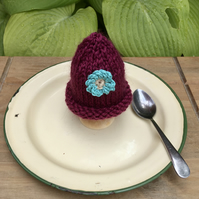 Burgundy Egg Cosy with Turquoise Crochet Flower