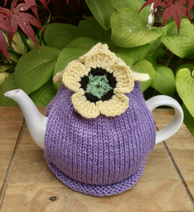 Lavender Tea Cosy with Yellow Crochet Flowers