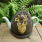 Deer Head Tea Cosy, Brown Tea Cozy with Gold Stag