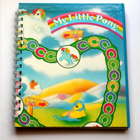 1980s My Little Pony Recycled Board Game Spiral Bound Journal / Notebook / Sketchbook