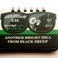 Recycled Eco Black Sheep British Pub Beer Matt Notebook / Journal
