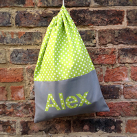 Personalised drawstring kit bag with full name