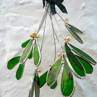 Christmas Stained Glass Mistletoe decoration.