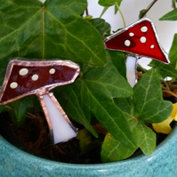 4 Hand Made Stained Glass Mushrooms