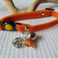 Protective Orange Cat Collar with Carnelian and Pentacle Charm For Protection
