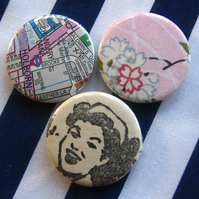 Set of 3 Mixed Paper 1 inch Badges
