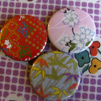 Set of 3 Origami Paper 1 inch Badges