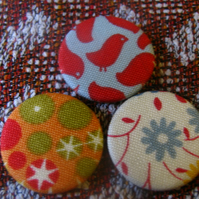 Set of 3 Fabric Covered 1inch Badges