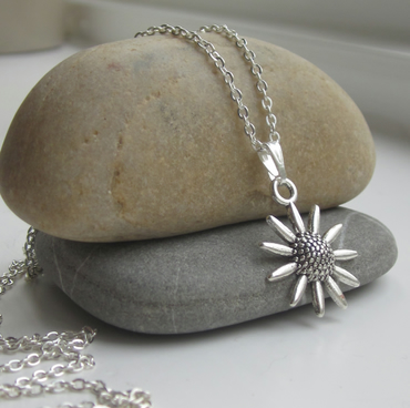 Sunflower Necklace, Silver necklace, flower necklace