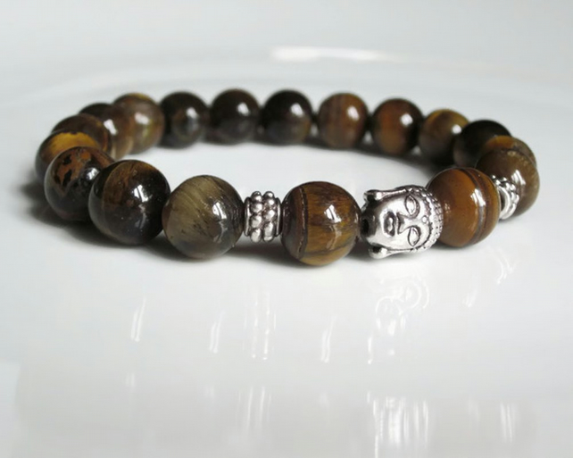 Mens bracelet, mens beaded bracelet, Tigers Eye bracelet, golden brown bracelet