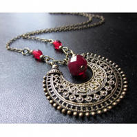 Boho necklace, Dark red necklace, Antique bronze necklace, statement necklace