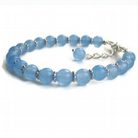 Aquamarine bracelet, March birthstone, Gifts for mum