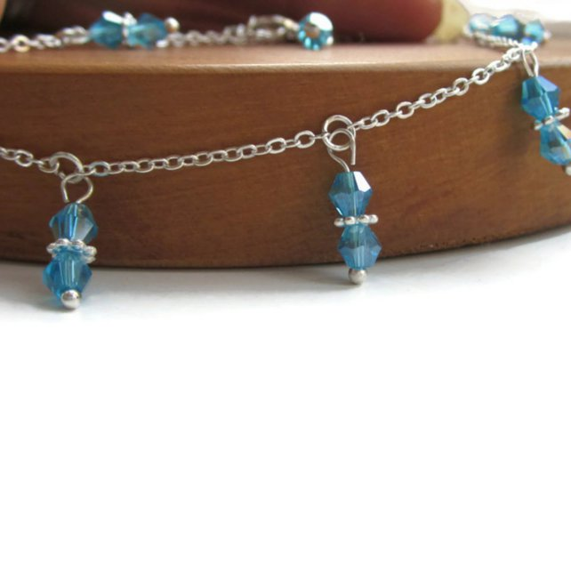 Silver anklet with crystal charms