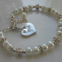 Mothers bracelet, Mothers Day gift, Pearl bracelet with charm
