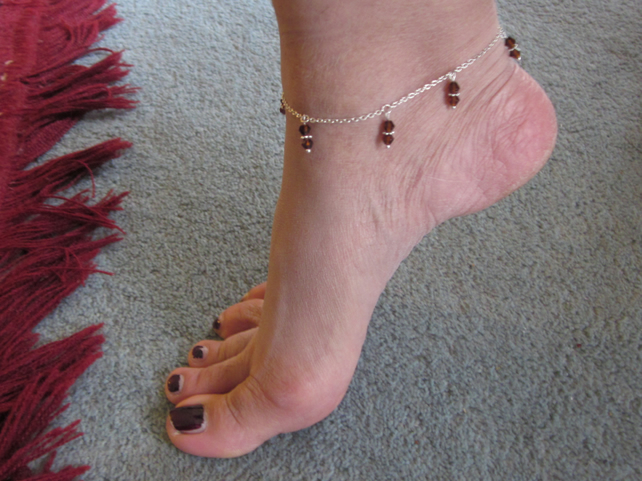 Silver anklet with amber crystal charms