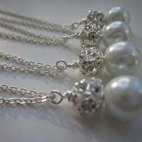 Pearl bridesmaids necklaces set of 4
