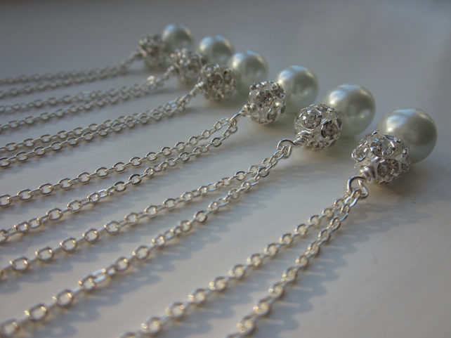 Set of 6 bridesmaid necklaces, bridesmaid gift idea