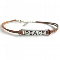 Leather bracelet, Peace bracelet, mens bracelet