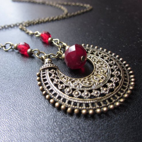 Bohemian necklace, Red and bronze necklace