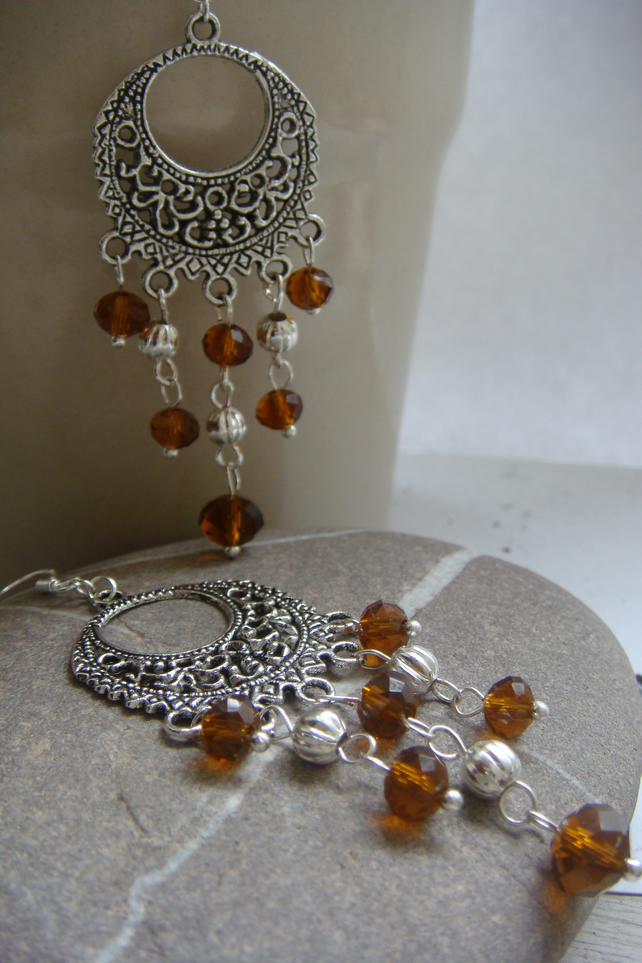 Amber crystal dangle earrings