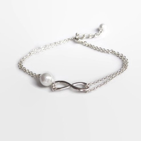 Silver Infinity bracelet with Pearl