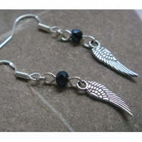 Angel wing earrings, silver angel wing, silver earrings