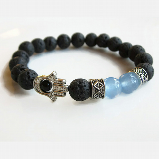 Lava bead bracelet with Aquamarine and Hamsa