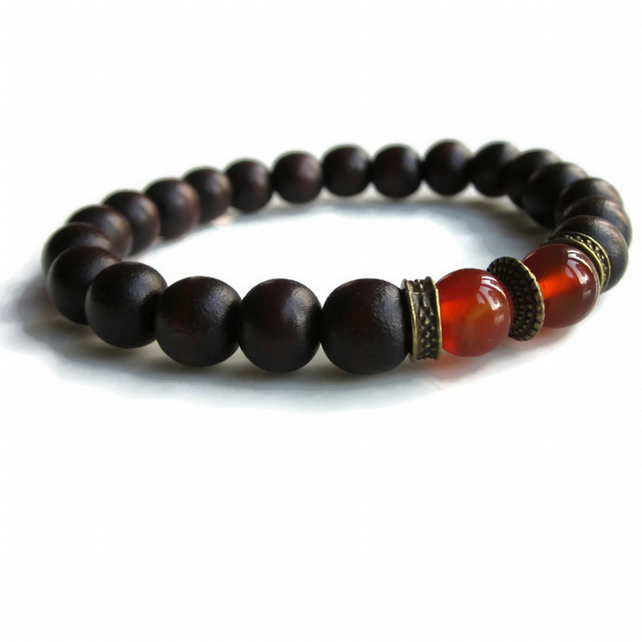 Dark wood bead bracelet with Carnelian and bronze