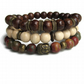 Mens Buddha bracelet - set of 3 gemstone and wood bead bracelets