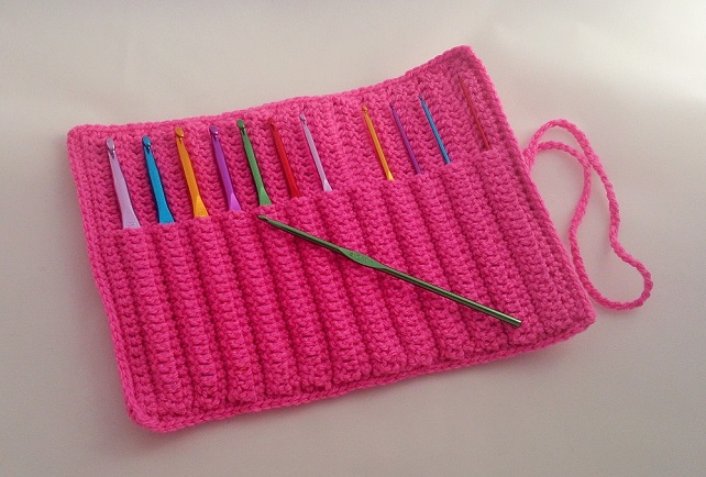 Crochet Hook Case in Bright Pink Coloured Yarn, Handmade- With or ...