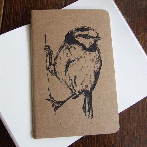 Blue Tit Gocco Printed Pocket Moleskine Cahier Notebook