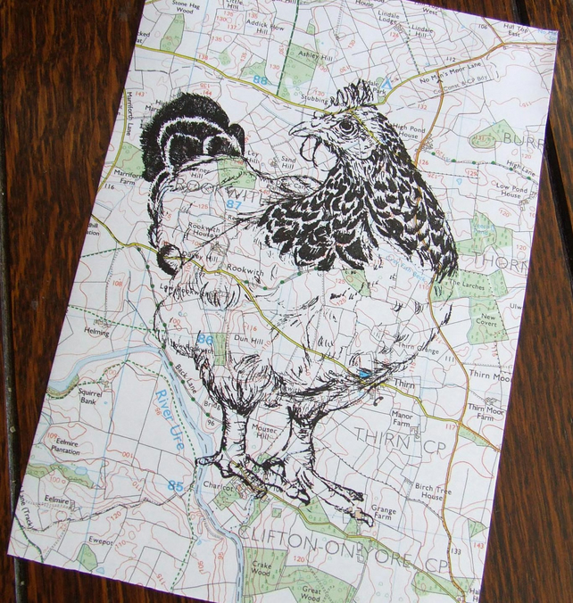 SALE Free Range Chicken Map Print
