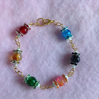 Rose Gold Plated Multi-Coloured Bead Bracelet.