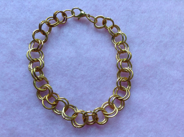 Roses Gold Plated Chain Maille Bracelet.
