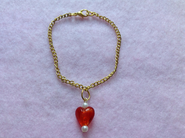 Rose Gold Plated Red Heart Bead Bracelet.
