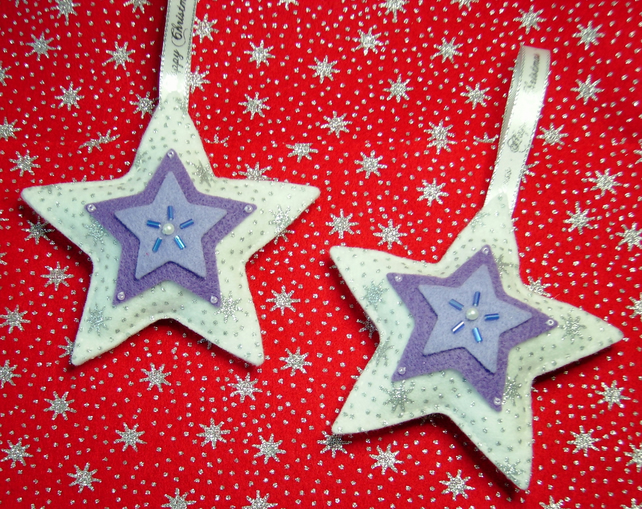 sale hanging felt star christmas decorations for home or tree lilac