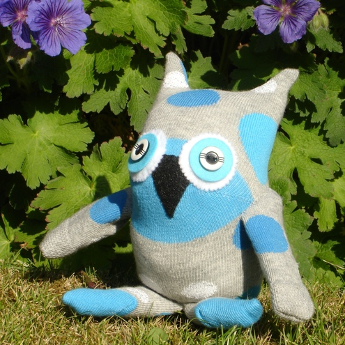 Handmade Percy  PearSee Sock Owl blue and white ideal fathers day or birthday gift