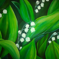 Green and White Lily of the Valley Print