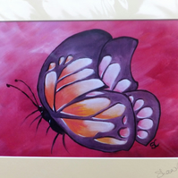 Purple, Orange, Pink and White Butterfly Print