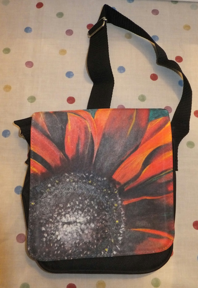 Small Black Messenger Bag with Flower Print