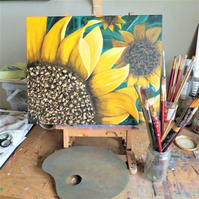 Original Sunflower Oil Painting on Block Canvas