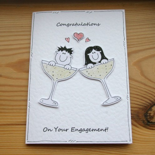 Champagne Couple Engagement Card