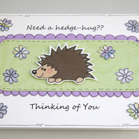 SALE Hedgehog Thinking of You Handcrafted Card