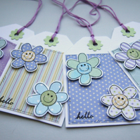 Happy Little Flower Gift Tags - Set of Four Lilac and Green