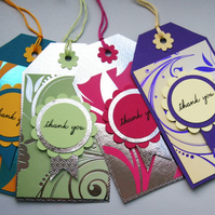 Thank You Fancy Foiled Patterned Gift Tags - Set of Four