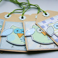 Little Summer Owls - Set of 4 Gift Tags - Blue and Green
