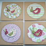 Little Christmas Birds - Set of Four Mini Square Notecards